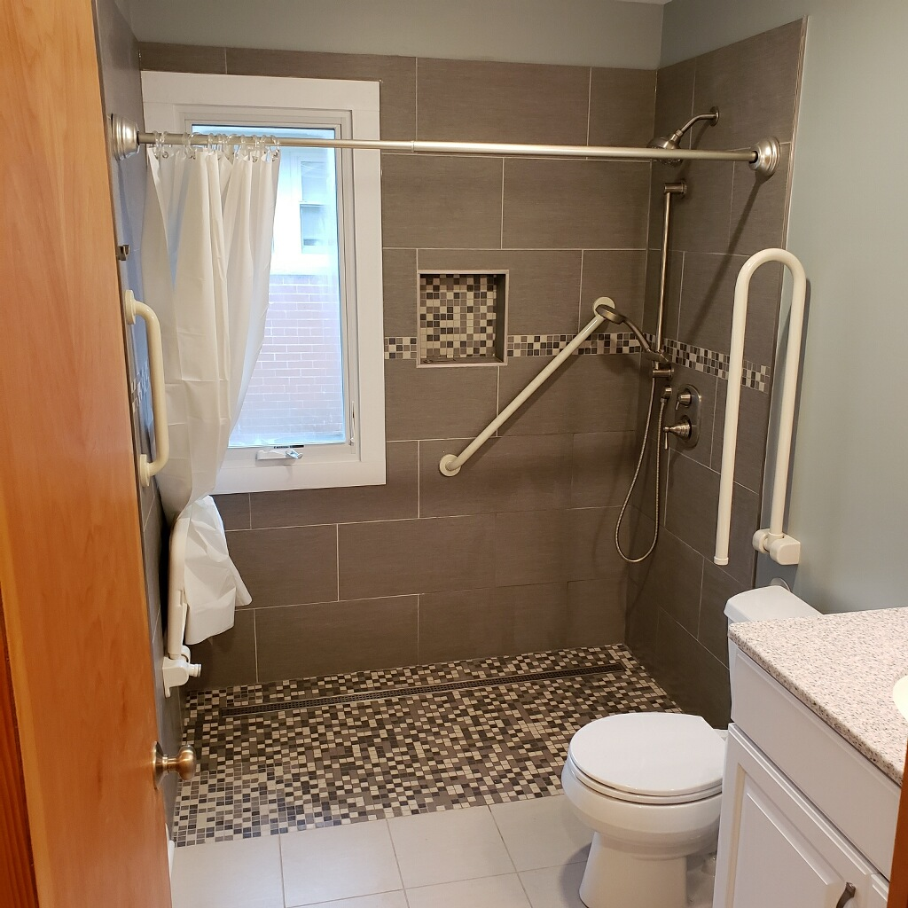 Chicago bathroom remodel with grab bars